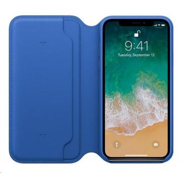 Apple iPhone X Leather Case, elektro modrá
