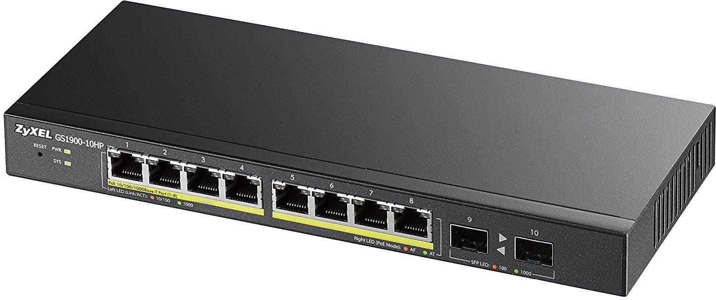 ZyXEL GS1100-10HP 10-port Desktop Gigabit Ethernet PoE Switch
