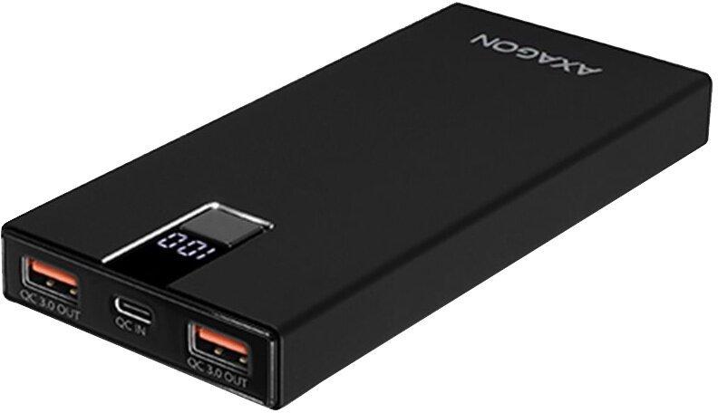 AXAGON Powerbank ALU SLIM 10000mAh 2x QC3.0 výstup, Type-C vstup, LCD displej, černá - obrázek č. 0