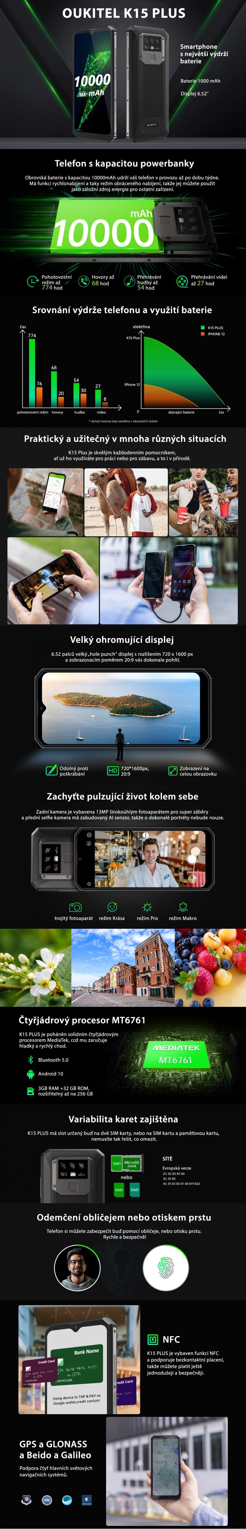 Oukitel K15 Plus Black - obrázek č. 0