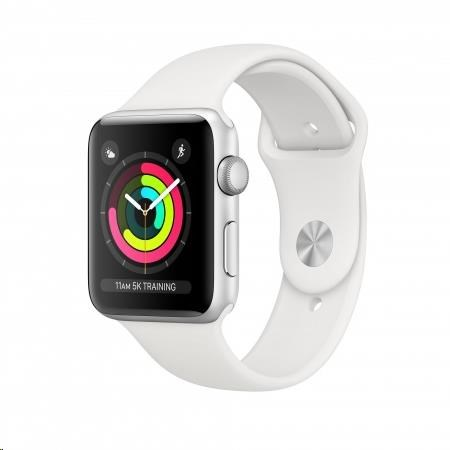 Apple Watch Series 3 GPS, 38mm Silver Aluminium Case with White Sport Band - obrázek č. 0