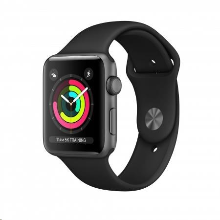AppleWatch Series3 GPS, 38mm Space Grey Aluminium Case with Black Sport Band - obrázek č. 0