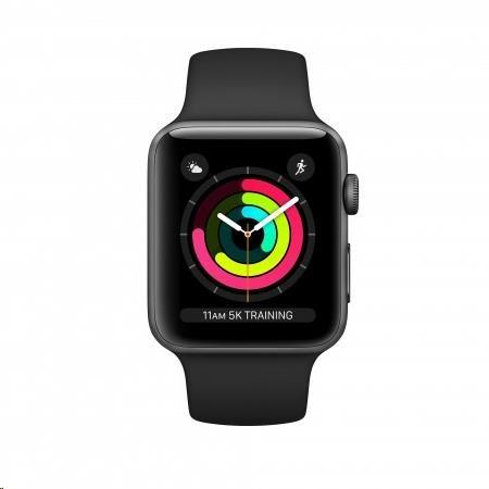 Apple Watch Series 3 42mm vesmírně šedý hliník s černým sportovním řemínkem - obrázek č. 0