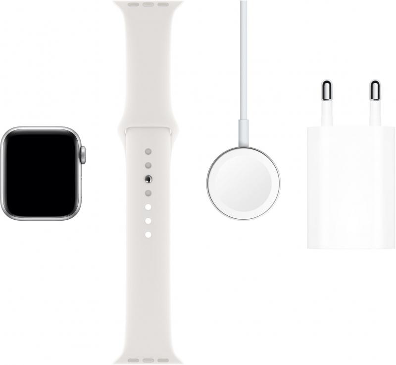 Apple Watch Series 5 GPS, 40mm pouzdro ze stříbrného hliníku, bílý sportovní řemínek  - obrázek č. 0