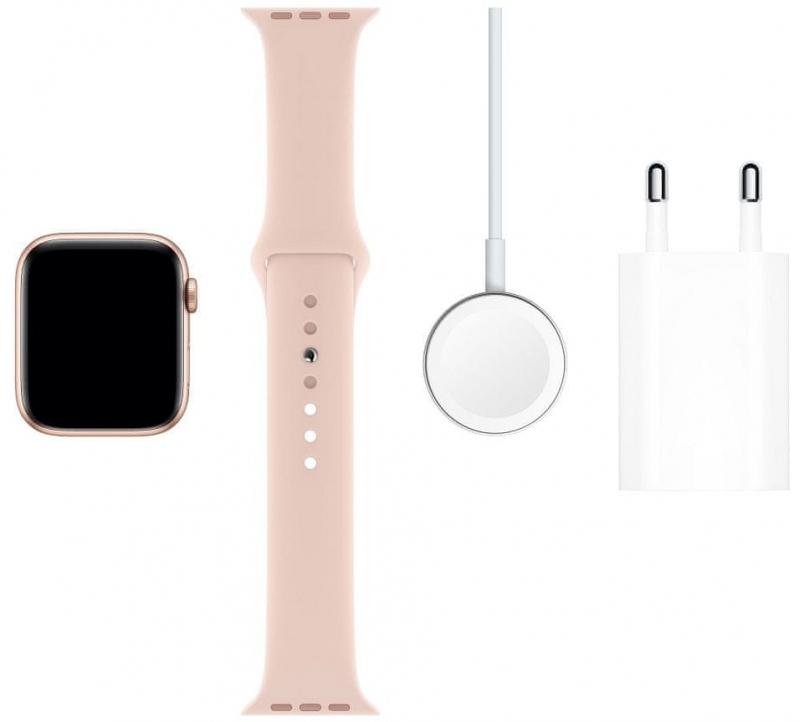 Apple Watch Series 5 GPS, 44mm pouzdro ze zlatého hliníku s pískově růžovým sportovním řemínkem  - obrázek č. 0