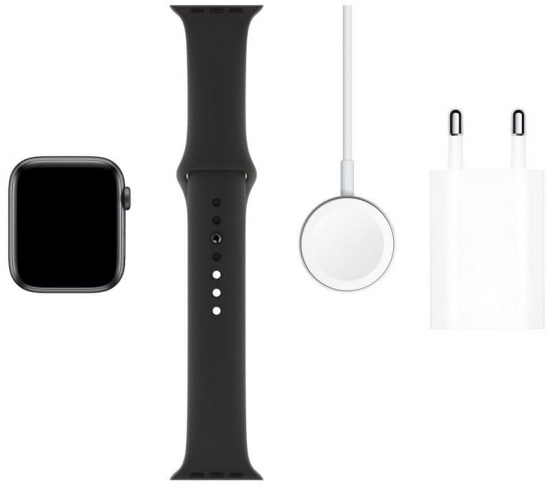 Apple Watch Series 5 GPS, 44mm Space Grey Aluminium Case with Black Sport Band - S/M & M/L - obrázek č. 0